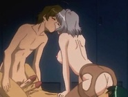 Luscious anime babe tied up and gets double...
